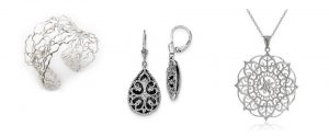 Filigree Jewelry: Pendants, necklaces, earrings, bracelets