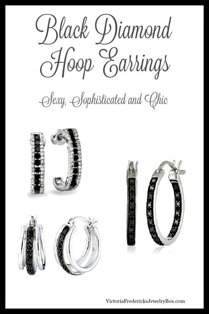 Black Diamond Earrings - Hoops
