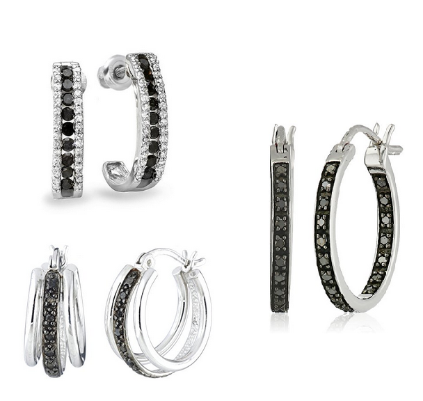 Black Diamonds Earrings - Hoops